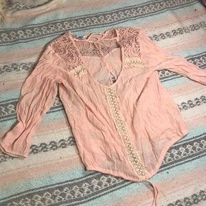 Maurice's pink lace blouse